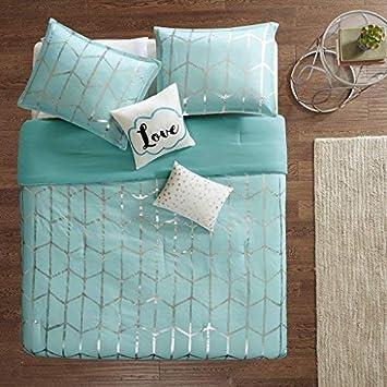 Grey Silver Ultra Soft Microfiber Teen Bedding for Girls Bedroom ID10-1245 Geometric Intelligent Design Raina Comforter Set King//Cal King Size 5 Piece Bed Sets