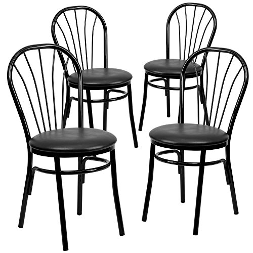 Flash Furniture 4 Pk. HERCULES Series Fan Back Metal Chair - Black Vinyl Seat