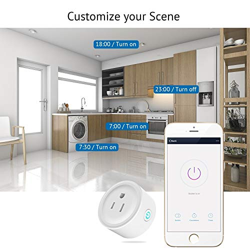 HUGOAI WiFi Smart Outlet, Mini Smart Plug 4 Pack, Works with Alexa & Google Home/IFTTT, APP Remote Control from Anywhere, No Hub Required, WiFi Enabled Voice Control Smart Socket by HUGOAI (Image #3)