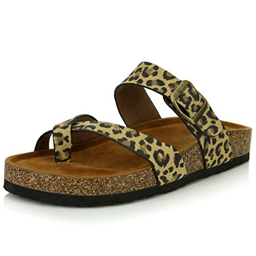 - DailyShoes Women's Fashion Flat Thong Strap Buckle Sandal Shoes, Leopard PU, 5.5 B(M) US