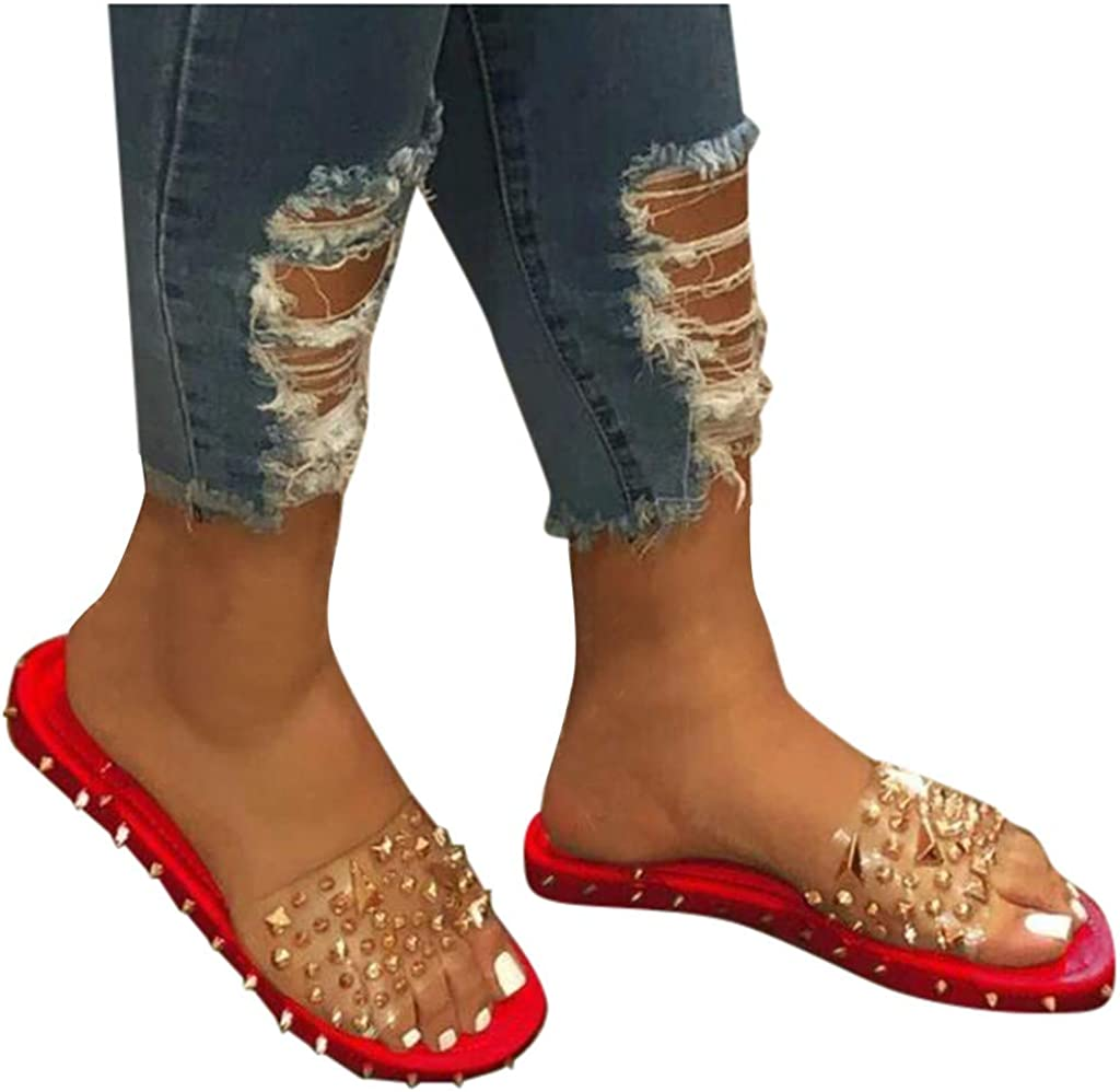 haoricu Womens Lightweight Soft Bottom Slipper Fashion Rivet Slip Flop Flats Summer Beach Holiday Slipper