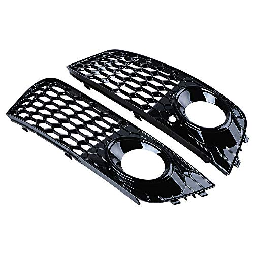 Astra Depot Front Left Right Honeycomb Glossy Black Lower Grille Foglight Cover Compatible with 2008-12 Audi A4 B8 Pre-LCI Standard Bumper