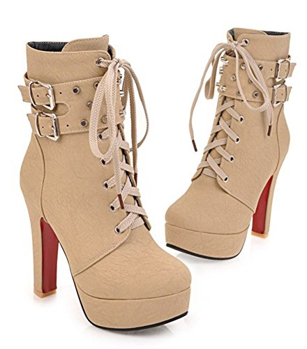 Zip Chunky Up Stylish Buckled Lace Short Boots Aisun Round Toe Beige High Womens Studded Heel Platform nf0xq1EwR