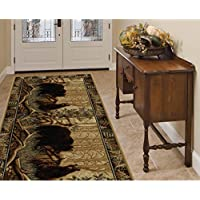 Forest Wild Bear Family Patterned Area Rug, Geometric Rustic Leafs Border Theme, Runner Indoor Hallway Doorway Living Area Bedroom Cabin Carpet, Bold Western Animal Lover Style, Beige, Size 27 x 73