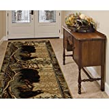 Forest Wild Bear Family Patterned Area Rug, Geometric Rustic Leafs Border Theme, Runner Indoor Hallway Doorway Living Area Bedroom Cabin Carpet, Bold Western Animal Lover Style, Beige, Size 2'7 x 7'3