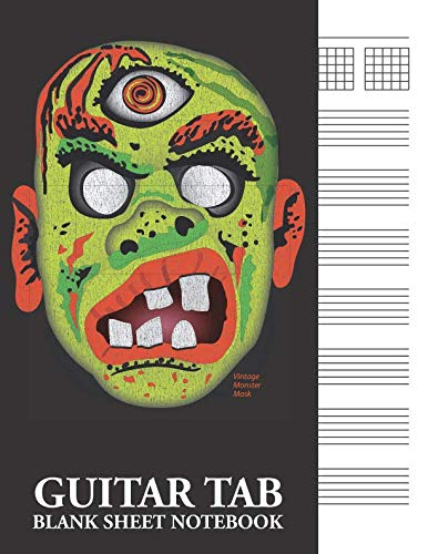 Vintage Monster Mask Guitar Tab Blank Sheet Notebook: 6-Line (6-String) Tablature Music Notation Workbook