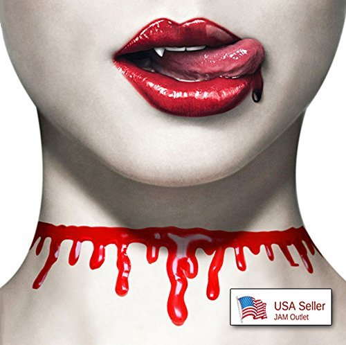 Halloween Blood Drip Slit Throat Necklace Red Bloody Cut Zombie Collar Choker US SHIP by JAM Outlet