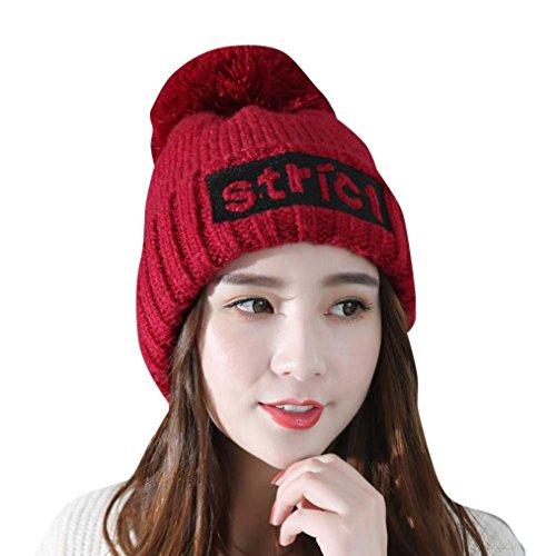 Mchoice Womens Lady Fashion Plus Velvet Cap Crochet Winter Warm Cap (Wine)