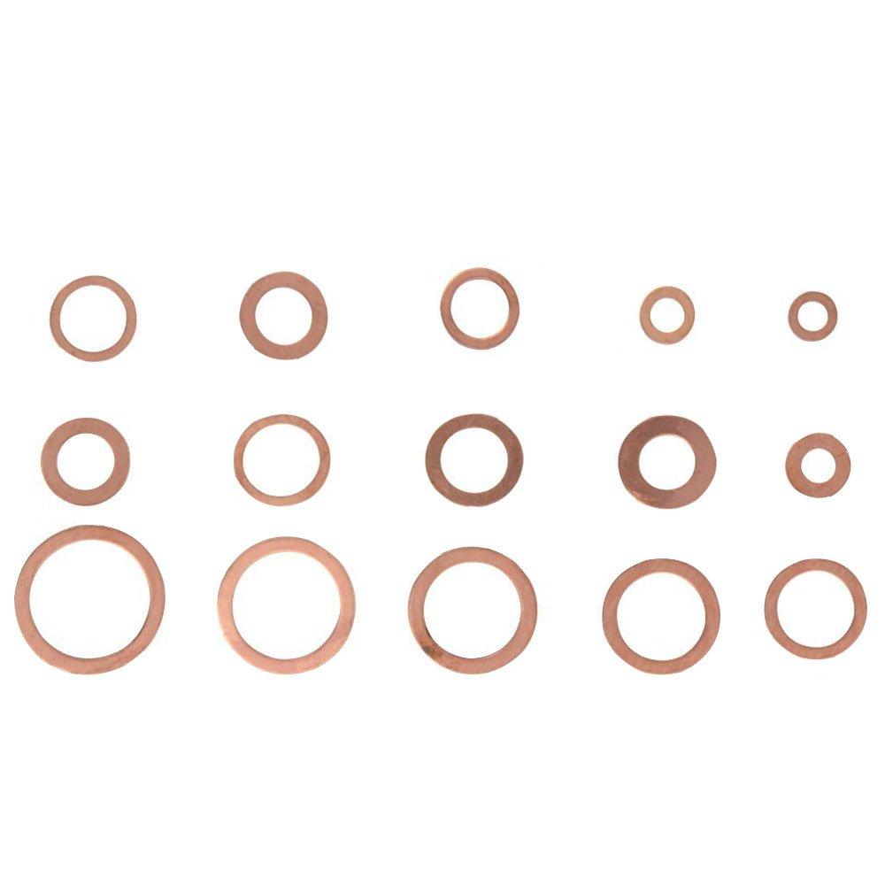 in der Klassifikationsbox Hardware Zubeh/ör solide Kupfer, knowing 150St/ücke 15 Gr/ö/ßen Kupferringe Sortiment Dichtringe Kupferring,Kupfer Dichtungssatz Kupfer Unterlegscheiben Dichtung