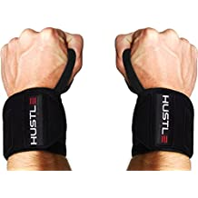 The Most Comfortable Wrist Wraps on Amazon by Hustle Athletics! With Bonus Ebook! - Wrist Supports for Power Lifting, Bodybuilding, Weight Lifting & Crossfit. Thumb Loops fit Men & Women!