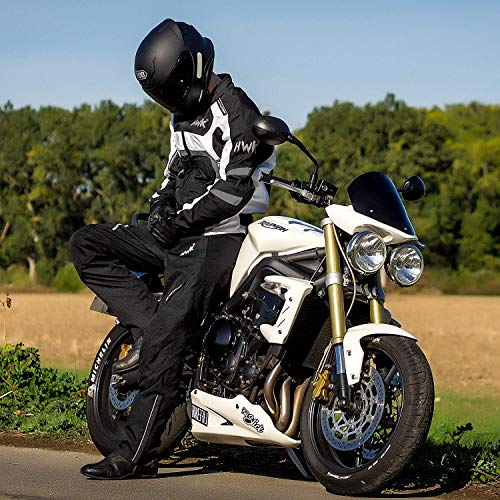 Textile Motorcycle Jacket For Men Dualsport Enduro Motorbike Biker Riding Jacket Breathable CE ARMORED WATERPROOF (Grey, 4XL)