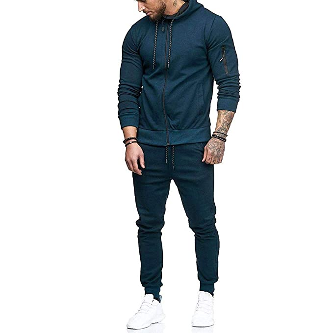 4850b7de Limsea Men's Autumn Patchwork Zipper Sweatshirt Top Pants Sets Sports Suit  Tracksuit(Blue,M