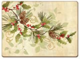 Cala Home 4 Premium Hardboard Christmas Placemats Table Mats, Holly Branch
