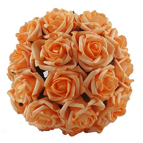 Lily Garden 2 Dozen Rose Bridal Wedding Bouquets Artificial Flower DIY (Orange)