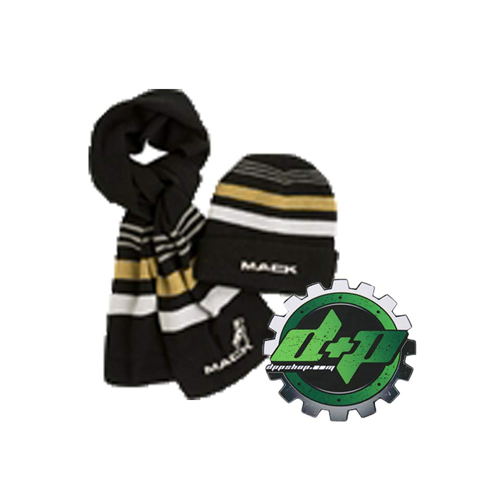 Diesel Power Plus マックトラック ビーニー ストッキング 帽子 & スカーフ セット スカル ビーニー キャップ ゴールド ヘッドラップ スキー