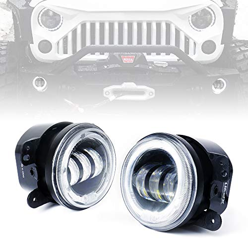 g Lights | w/White Halo Ring Angle Eye DRL 60W CREE Round Fog Light | for Jeep Wrangler JK 2007-2018 Off Road Fog Lamps | Front Bumper Replacements Foglights ()
