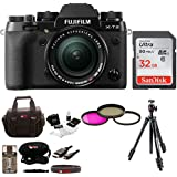 Fujifilm X-T2 Mirrorless Digital Camera w/18-55mm Lens, Manfrotto MKCOMPACT Tripod & 32gb Focus Gear Bag