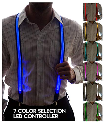 Neon Nightlife Men's Light Up LED Suspenders, 7 Color Selection LED Battery Pack, One -