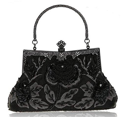 ISHOW para mujer cuentas Vintage satén noche fiesta Prom cluthes cena bolso negro