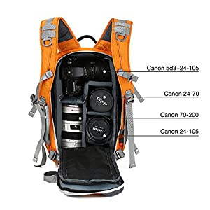 Beaspire DSLR Camera Backpack Sling Travel Photography Bag for Canon Nikon Sony Olympus Panasonic Pentax Camera Tripod and Digital Accessories Man and Woman(Orange)
