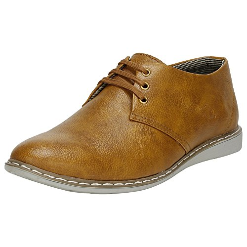 Emosis Men's Sneakers – Synthetic Leather Lace-Up Casual Shoe – for Formal Office Daily Use – Available in Tan Black Brown Colour – 0154M