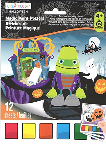 Creatology Magic Paint Posters ~ Halloween Edition (Franken Spa, Skeletons in Cemeteries, Halloween Fun; 12 Posters, 6