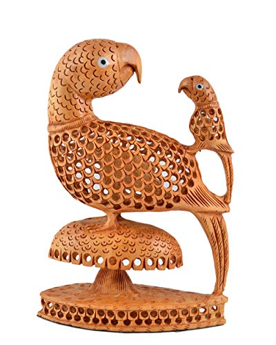 Indian Parrot Love Bird Decorative Showpiece Gift for Love Wooden Statue Collective Figurine 8 Inches