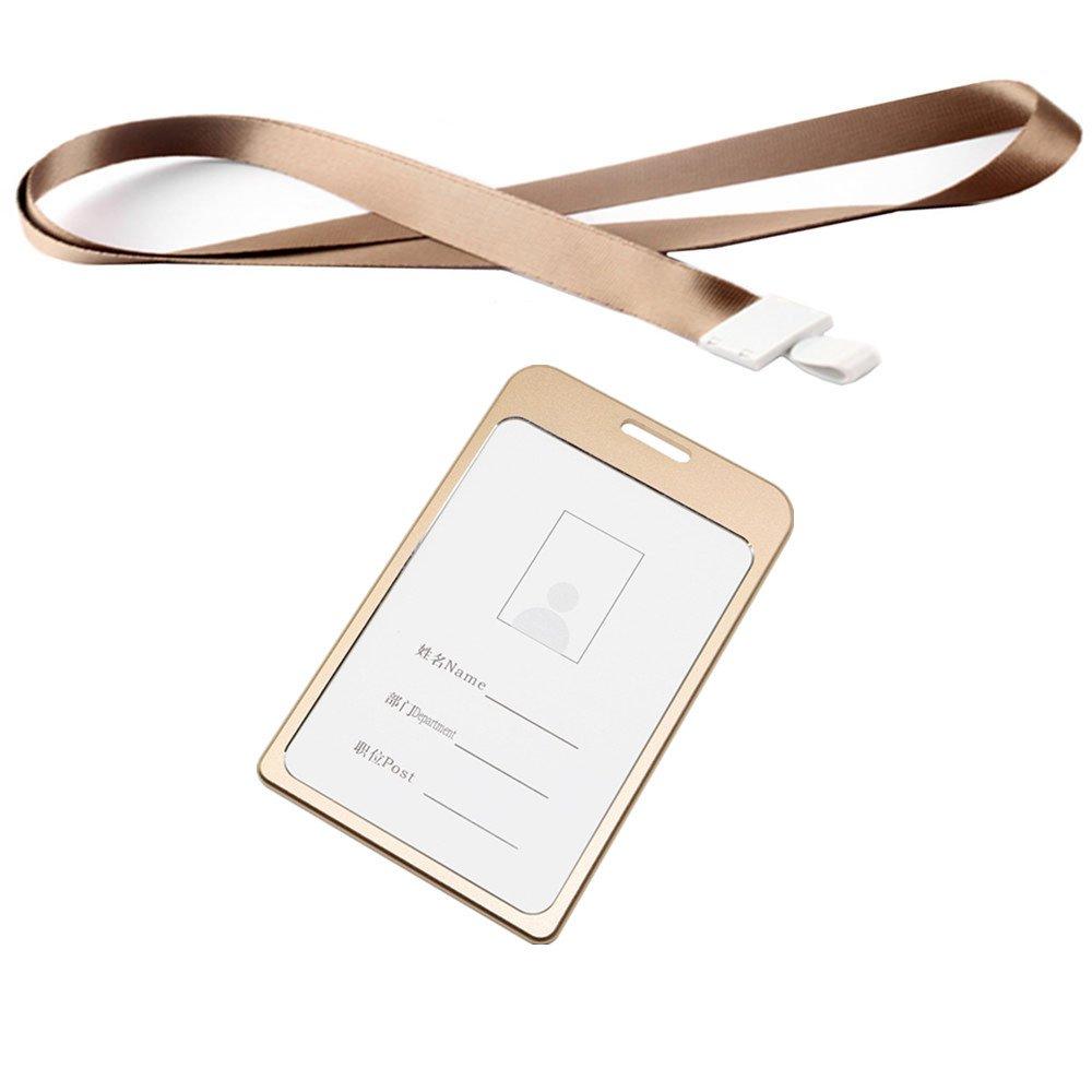 AllSpes Ausweis Identifikationskarten Abzeichen Halter aus Aluminiumlegierung mit 45cm langem für Geschäftsereignisse, Arbeit, Ausstellungen, Konferenzen, Veranstaltungen, Shows, Büro und Schulbedarf - Silber