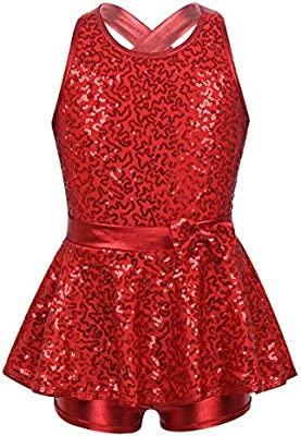 moily Girls Shiny Sequined Cirss Cross Cutout Back Skirted Leotard Dance Dress for Modern Jazz Ballet
