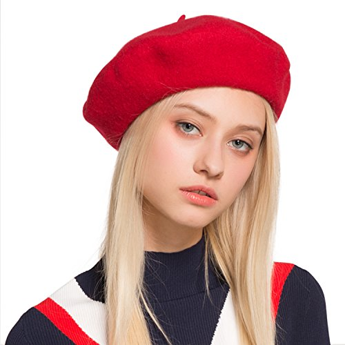 French Beatnik Costume (Sedancasesa Beret Hat French artist Casual Classic Solid Color Wool Beanie Hats (Red))