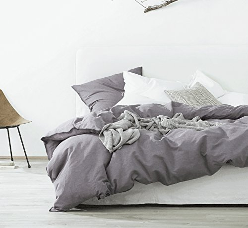 Eikei Washed Cotton Chambray Duvet Cover Solid Color Casual Modern Style Bedding Set Relaxed Soft Feel Natural Wrinkled Look (King, Plum Shadow) (Duvet Cover Plum King)