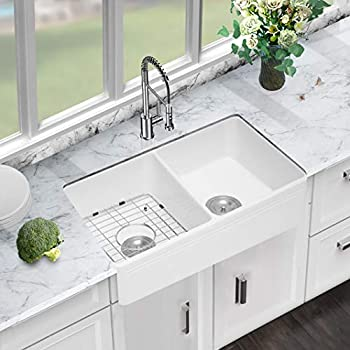 White Farmhouse Sink Sarlai 33 Inch Kitchen Sink Apron Front Double Bowl 50 50 White Porcelain Ceramic Fireclay Kitchen Farm Sink