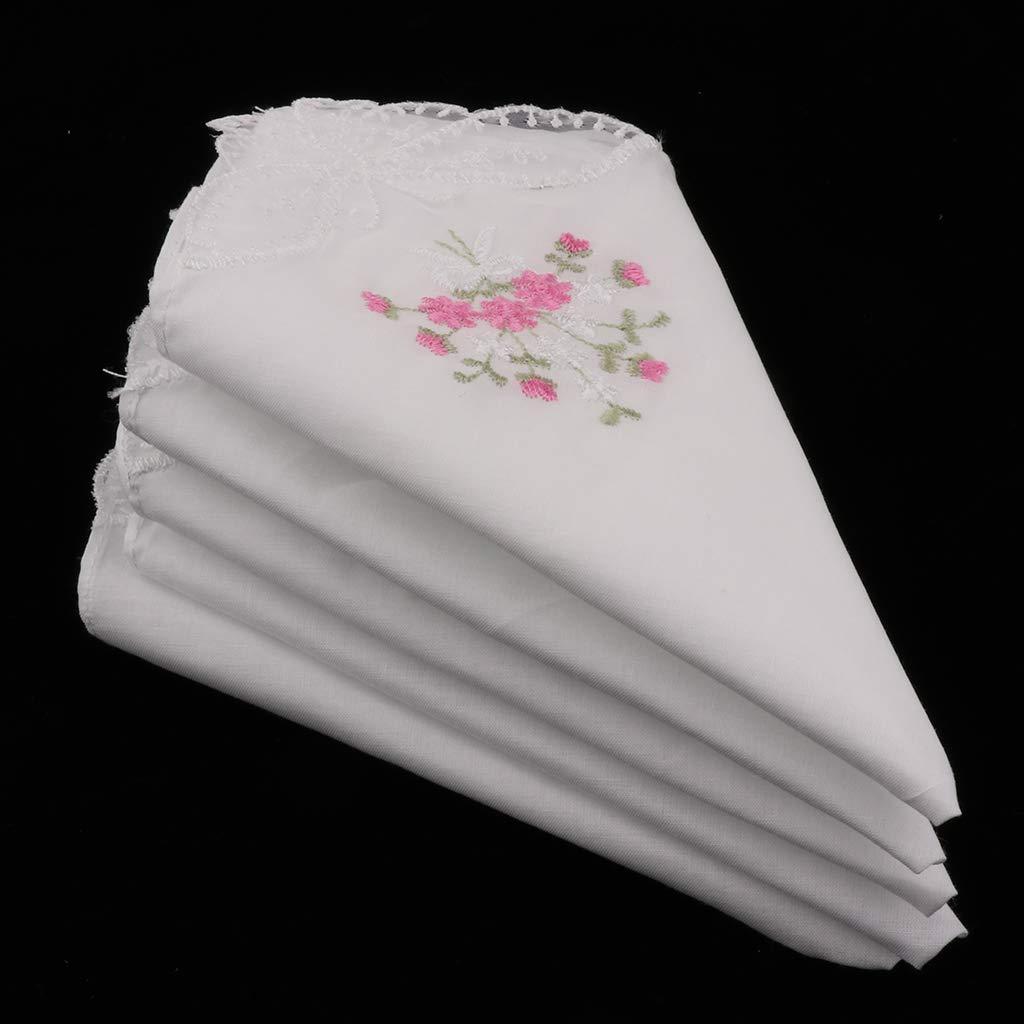 27 x 27 cm Hellery 3pcs Femme Mouchoirs Tissu en Coton Motif Broderie de Fleurs pour Usage Quotidien