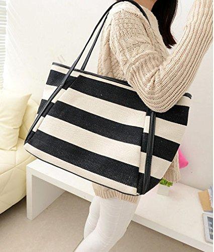 Ecokaki(TM) Women Ladies Casual Fashion Handbags Striped Boho Tote Canvas Shoulder Zipper Bag, Black