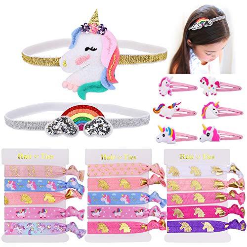Konsait Unicorn Party Favors,Unicorn Elastic Hair Ties,Hair Clips,Rainbow