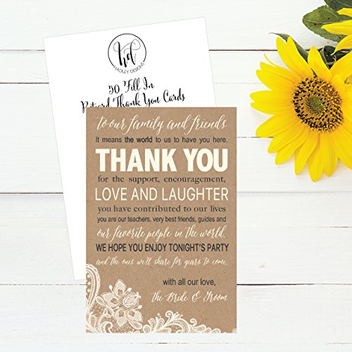 50 Wedding Kraft Thank You Place Cards, Rehearsal Dinner Thank You Table Sign, Menu Place Setting Card Notes, Placement Thank You Note Favors For Family & Guests Photo #4