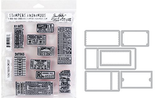 Tim Holtz Ticket Booth - Stampers Anonymous Cling Stamps and Sizzix Framelits Die Set by Tim Holtz