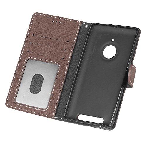 YHUISEN Lumia 830 Estuche, estilo retro de cuero sólido Premium PU caja de cuero de la caja Flip Folio cubierta de la caja de protección con ranura para tarjeta / soporte para Nokia Lumia 830 ( Color  Brown