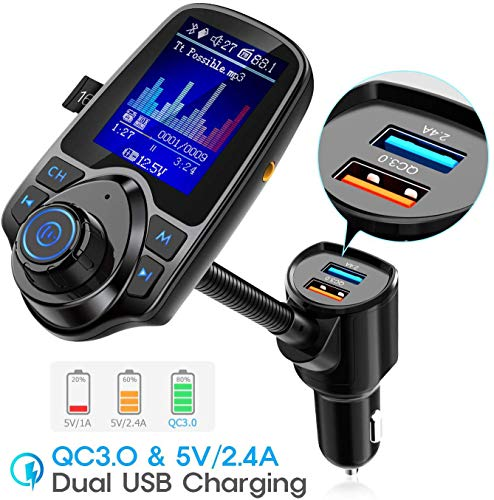 """Nulaxy Bluetooth FM Transmitter for Car, 1.8"""" Color Screen Radio Adapter W QC3.0 & 5V/2.4A Charging, Handsfree Call, Support microSD Card, Aux Play, EQ Modes - KM18 [Upgraded Version] Black"""
