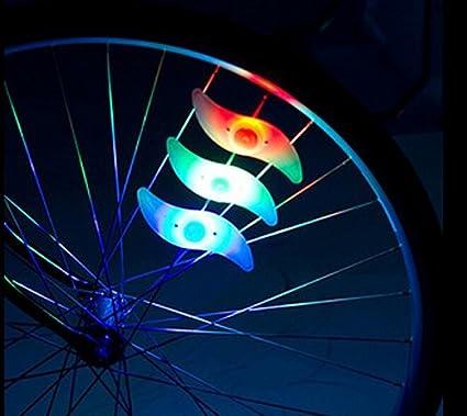 Oumers la luz del rayo de la bici, rayo de la decoración impermeable de la rueda de la bicicleta luz del borde del neumático habló la luz con 3 modos de ...