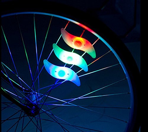 Oumers 4pcs Bike Spoke Light, Waterproof Bike Wheel Rim Light Cycling Tire Valve Spoke Light with 3 LED Flash Modes Neon Lamps Used for Safe and Warning (Colorful) by Oumers (Image #3)