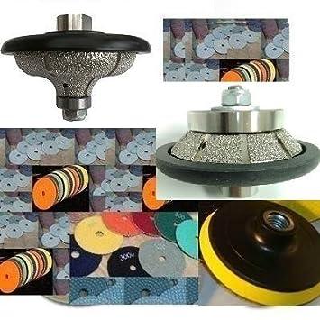 """Wet Granite Concrete Polisher 1/"""" Bevel 45 Degree Bull nose router polishing pad"""
