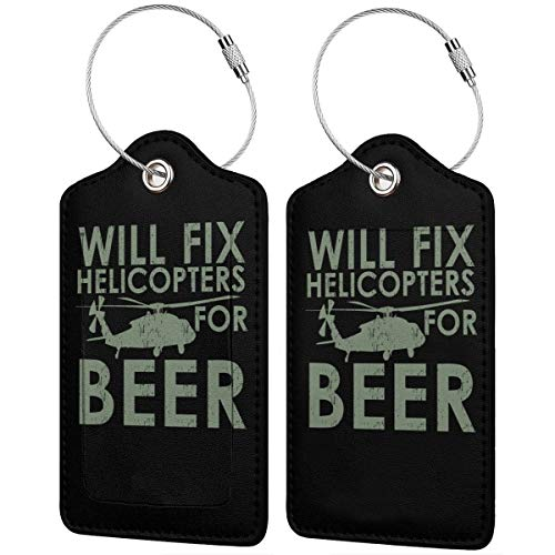 Luggage Tag Leather Tags Will Fix Helicopters For Beer Full Privacy Cover Name ID Labels from Ling Lake