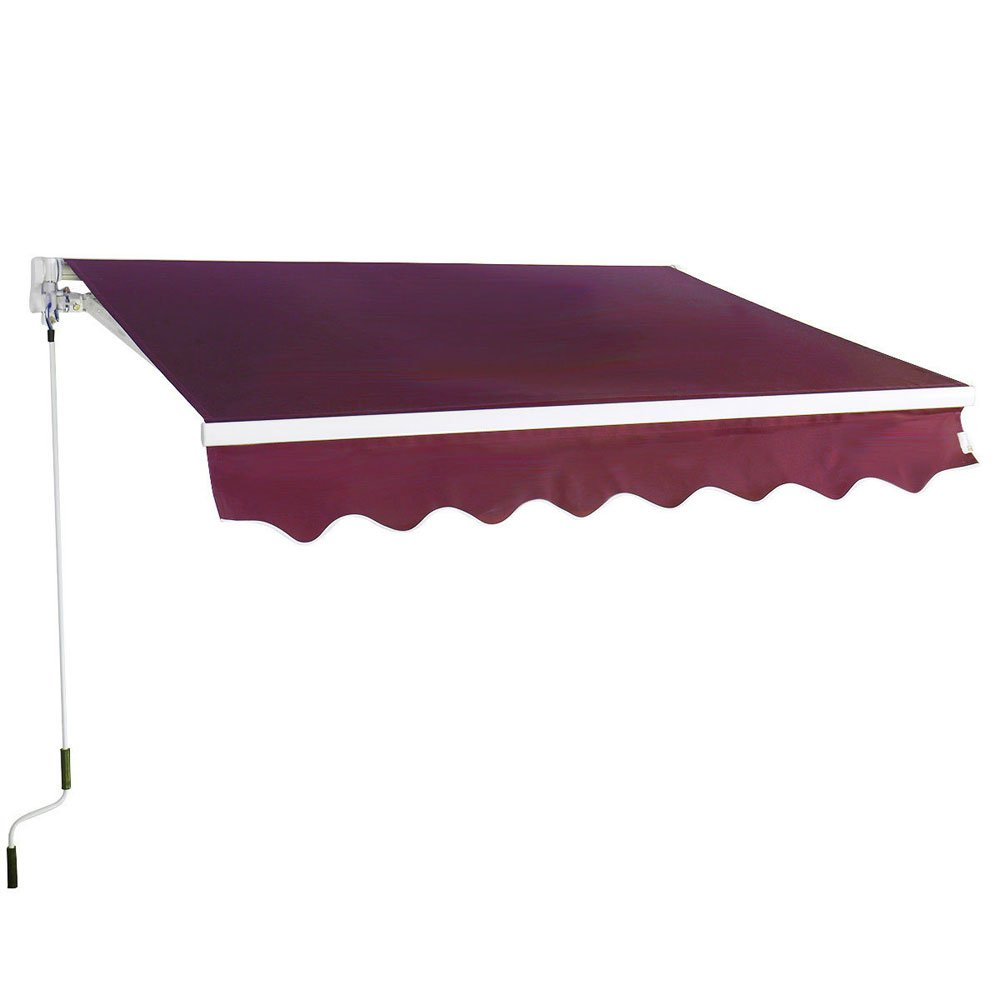 Z ZTDM 10'x8' Manual Retractable Awning Foldable Home Use Door & Window Sunshade Shelters Rain Shelter Eaves Canopy Front Door Outdoor Door awnings Balcony Umbrellas (wine red)