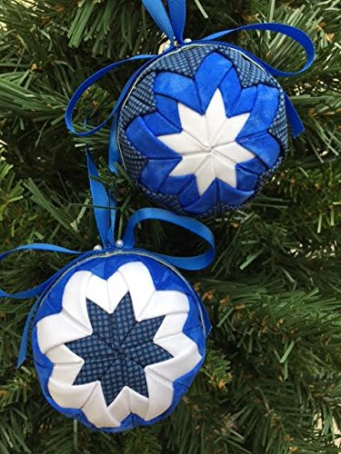No Sew Quilted Heirloom Ball Ornament Kit. Blue/ White Colors.Folded Fabric Ornament Balls