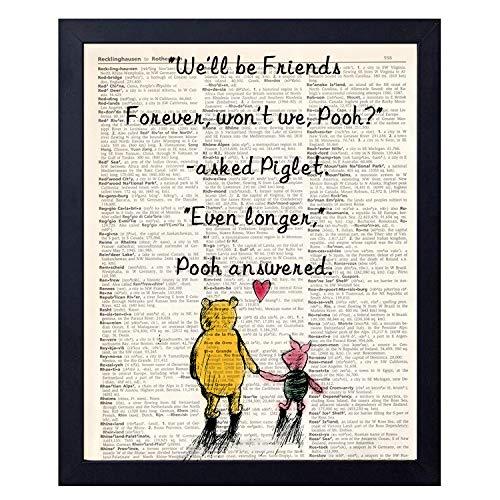 (akeke Classic Winnie The Pooh Vintage Book Art Prints - Best Friend Birthday Gift 8x10 Unframed Art Poster - Great Child/Boy/Girl/Nursery Room Decor (Will be Friend))
