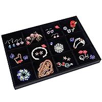 Valdler Velvet Stackable Grid Jewelry Tray Showcase Display Organizer