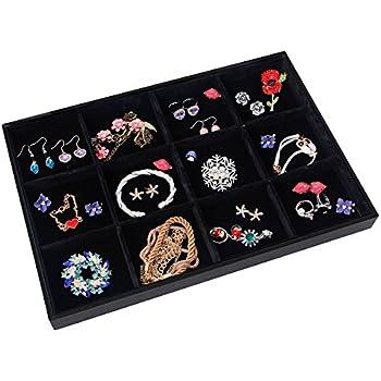 Valdler Velvet Stackable 12 Grid Jewelry Tray Showcase Display Organizer