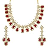 MuchMore Beautiful Ruby Crystal Stone Necklace Set Traditional Partywear Jewelry
