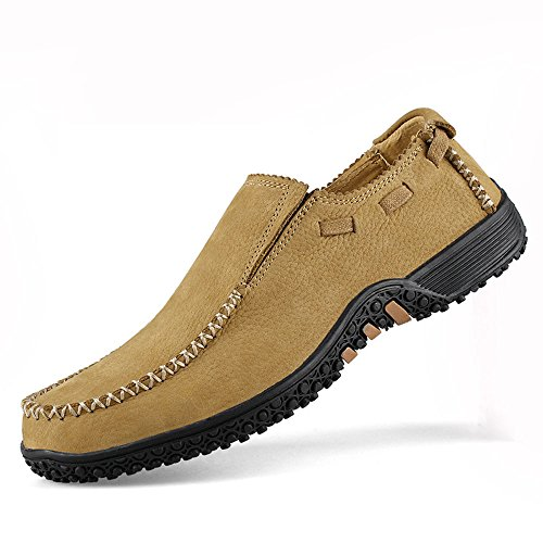 Mocasines Barco Blando Fondo De Ocio Hombres Para Cuero Caminar Zapatos Transpirables Marrón r8zwqrvxBt